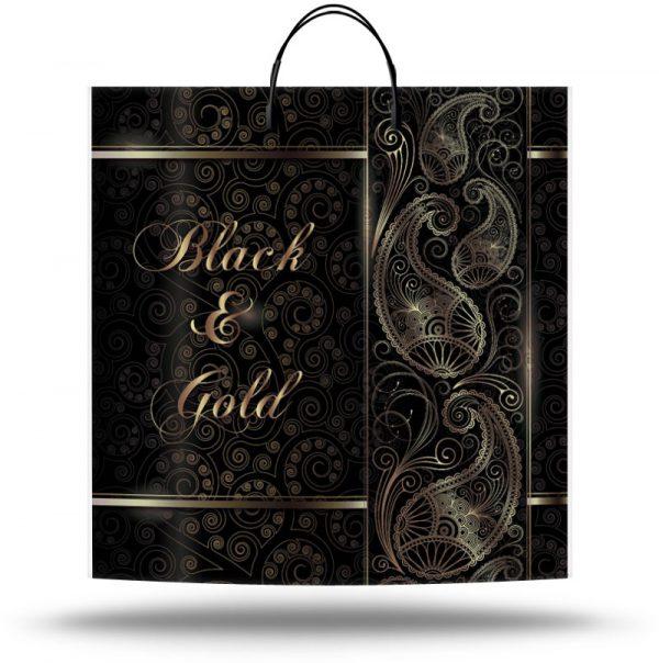 """Пакет на пластиковой ручке """"Black and Gold"""" (40х40) 10 шт"""