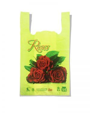 """Пакет-майка Эко """"Роза"""" Comserv салатовый 55 кг (30×55) 100 шт"""