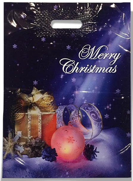 """Пакет с прорезной ручкой """"Merry Christmas"""" ламинированный (30х39) 25 шт"""