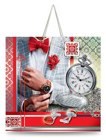 """Подарочный пакет картонный """"ЧАШКА"""" 21 """"Часы"""" (16х16х8)"""