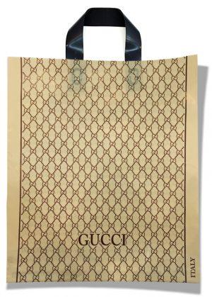 """Пакет с петлевой ручкой тип """"Диор"""" """"Gucci"""" бежевый (37х43) 25 шт"""