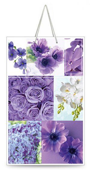 "Подарочный пакет картонный ""МАЛЫЙ"" 08 ""Фиолетовые цветы"" (11х18х5)"