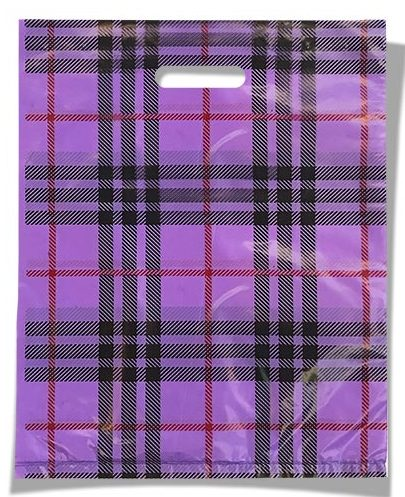 """Пакет с прорезной ручкой  тип мини """"Клетка"""" фиолетовый (20х25) 100 шт"""