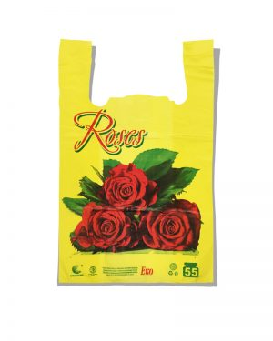"Пакет-майка Эко ""Роза"" Comserv желтый 55 кг (30×55) 100 шт"