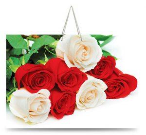 """Подарочный пакет картонный  """"БОЛЬШОЙ ГОРИЗОНТАЛЬНЫЙ"""" 19 """"Красно-белые розы"""" (36х22х10)"""