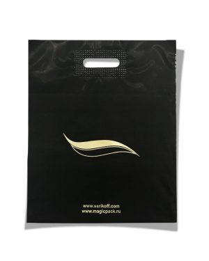 """Пакет с прорезной ручкой тип """"Serikoff"""" черный матовый (39х47) 25 шт"""