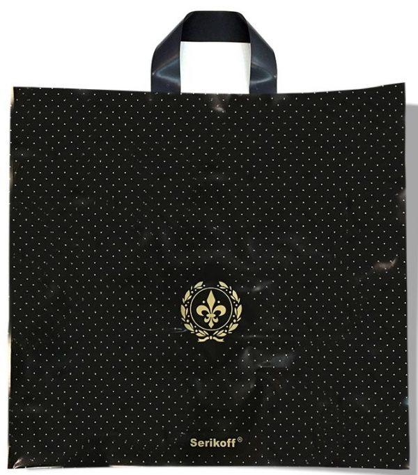 """Пакет с петлевой ручкой тип """"Serikoff"""" черный глянцевый (50х47) 25 шт"""