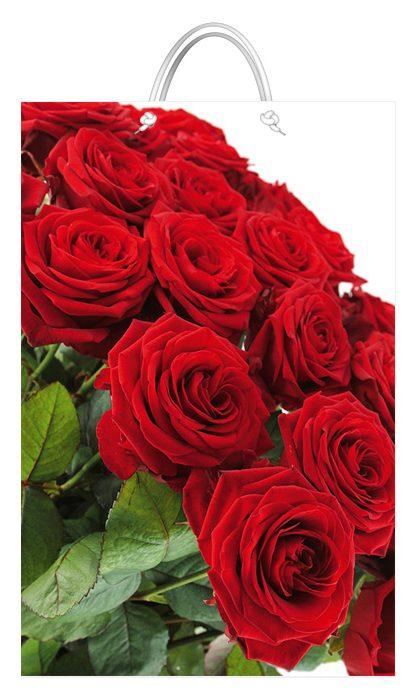 """Подарочный пакет картонный  """"БОЛЬШОЙ ВЕРТИКАЛЬНЫЙ"""" 18 """"Розы красные"""" (25х37х8)"""