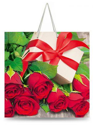 """Подарочный пакет картонный """"ЧАШКА"""" 26 """"Подарок и розы"""" (16х16х8)"""