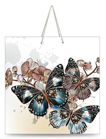 "Подарочный пакет картонный ""КВАДРАТ"" 42 ""Бабочки"" (23х24х10)"