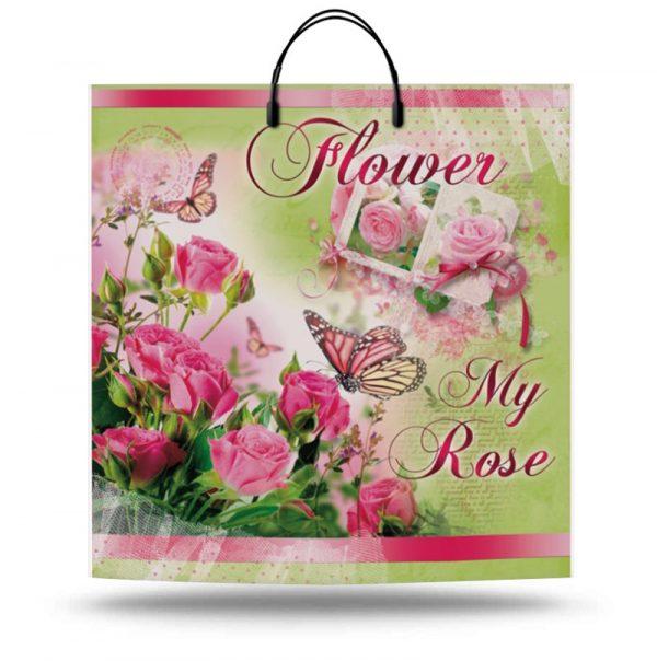"Пакет на пластиковой ручке ""Flower My Rose"" (40х40) 10 шт"
