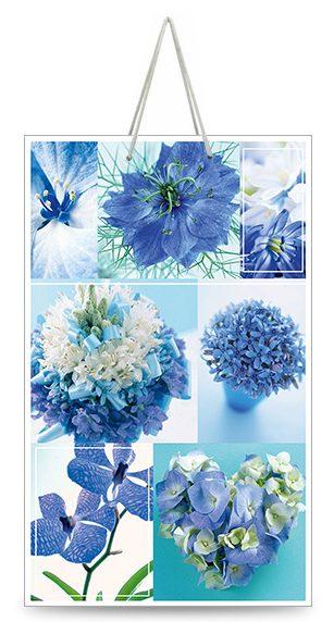 "Подарочный пакет картонный ""МАЛЫЙ"" 07 ""Голубые цветы"" (11х18х5)"