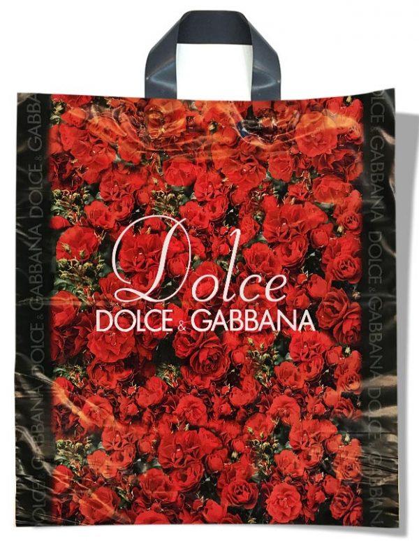 """Пакет с петлевой ручкой тип """"Диор"""" """"Dolce&Gabbana"""" розы (37х43) 25 шт"""