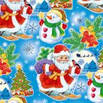 "Бумага Подарочная новогодняя 23 ""Дед мороз и снеговик"" (70х100)"