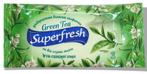 """Влажные салфетки Superfresh """"Green Tea"""" 15 шт"""