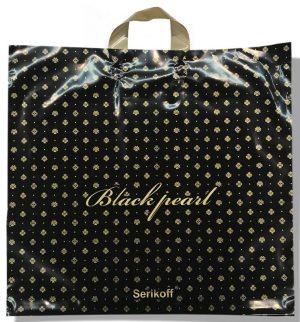 Пакет с петлевой ручкой тип «Serikoff» «Black Pearl» чёрный глянцевый (50х47) 25 шт