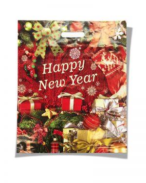 """Пакет с прорезной ручкой """"Happy New Year"""" (40х50) 25 шт"""
