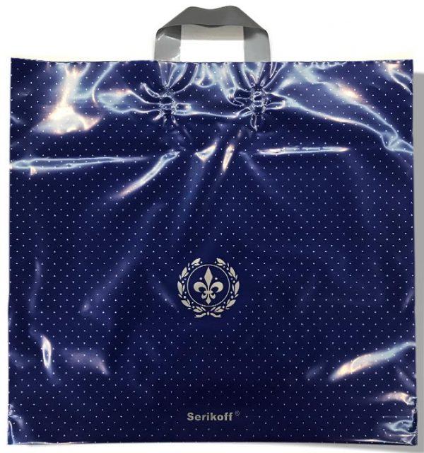 Пакет с петлевой ручкой тип «Serikoff» синий глянцевый (50х47) 25 шт