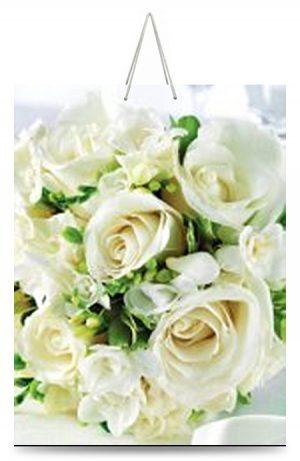 """Подарочный пакет картонный """"ГИГАНТ ШИРОКОЕ ДНО"""" 03 """"Белые розы"""" (30х40х17)"""