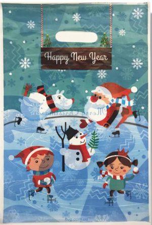 """Пакет с прорезной ручкой """"Happy New Year"""" (30х40) 50 шт"""
