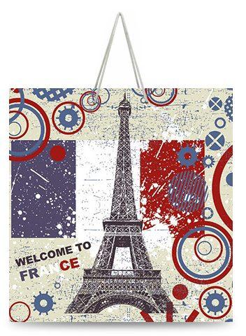 """Подарочный пакет картонный """"КВАДРАТ"""" 52 """"Welcome to France"""" (23х24х10)"""
