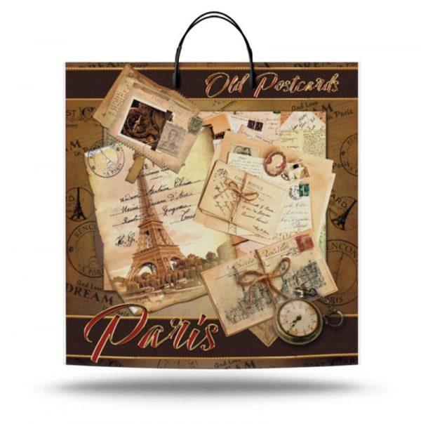 """Пакет на пластиковой ручке """"Old Postcards Paris"""" (36х37) 10 шт"""