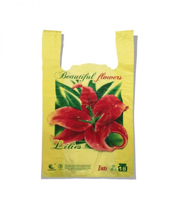 """Пакет-майка Эко """"Lilies"""" Comserv желтый 18 кг (28×46) 250 шт"""