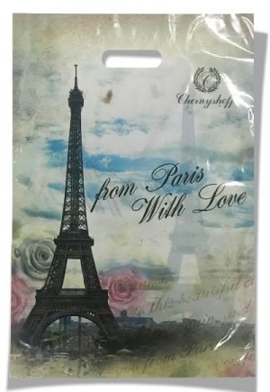 """Пакет с прорезной ручкой  """"Paris"""" (20х30) 100 шт"""