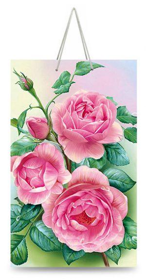 """Подарочный пакет картонный """"МАЛЫЙ"""" 02 """"Розовые розы"""" (11х18х5)"""