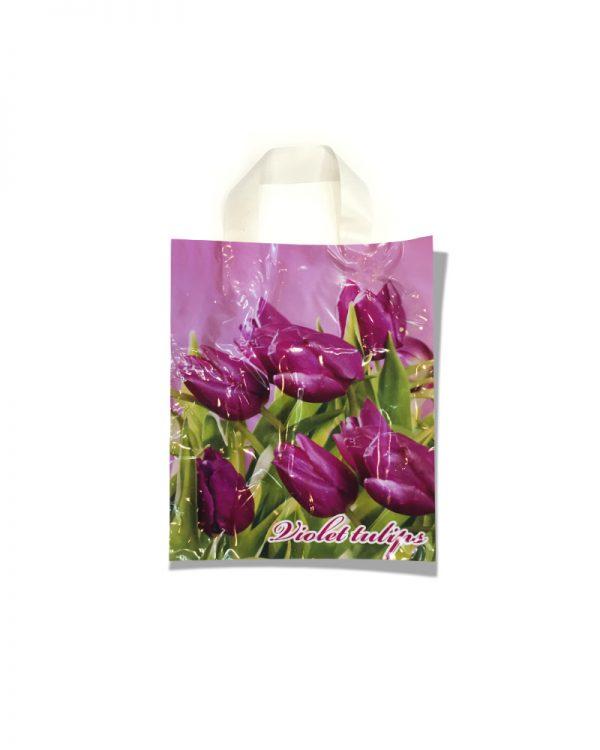 """Пакет с петлевой ручкой маленький ламинированный """"Тюльпаны"""" (23х29) 25 шт"""