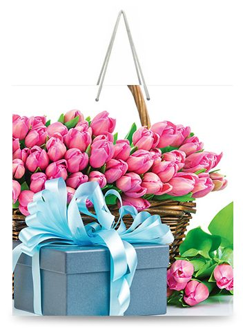 """Подарочный пакет картонный """"КВАДРАТ"""" 37 """"Тюльпаны и подарок"""" (23х24х10)"""