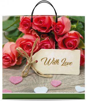 """Пакет на пластиковой ручке """"With Love"""" (36х37) 10 шт"""