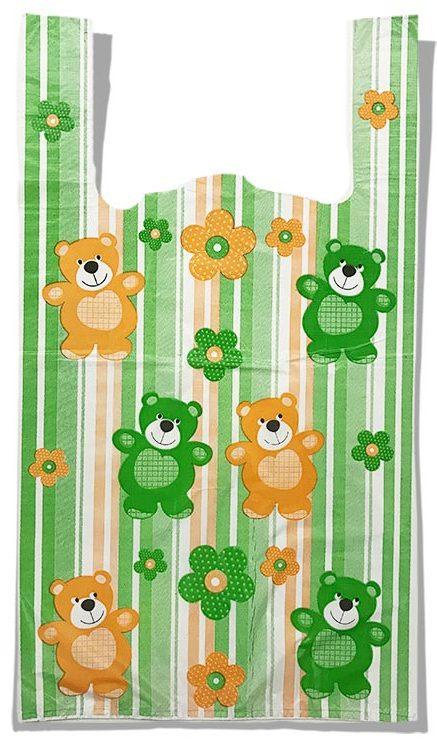 """Пакет-майка """"Мишки"""" (29×50) 100 шт зеленый"""