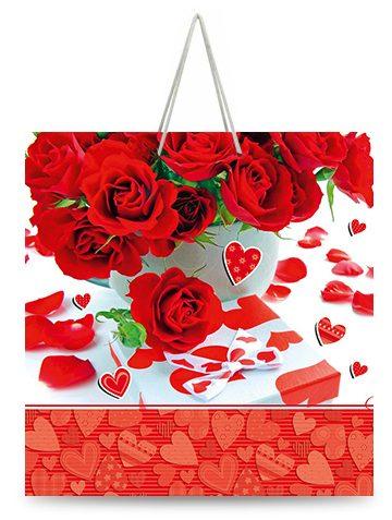 """Подарочный пакет картонный """"КВАДРАТ"""" 47 """"Красные розы"""" (23х24х10)"""