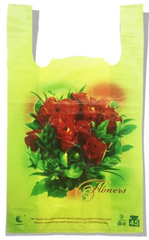 "Пакет-майка ""Розы"" Comserv 45 кг (35×57) 100 шт"