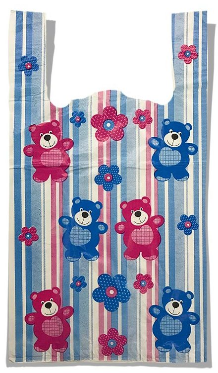 "Пакет-майка ""Мишки"" (29×50) 100 шт синий"