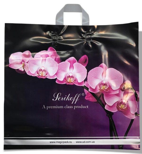 """Пакет с петлевой ручкой тип """"Serikoff"""" """"Орхидея""""  (45х43) 25 шт"""