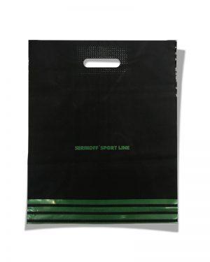 """Пакет с прорезной ручкой тип """"Serikoff"""" """"Sport line"""" черный (39х47) 25 шт"""