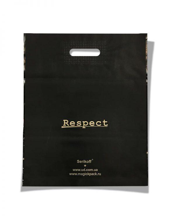 """Пакет с прорезной ручкой тип """"Serikoff"""" """"Respect"""" чёрный (39х47) 25 шт"""