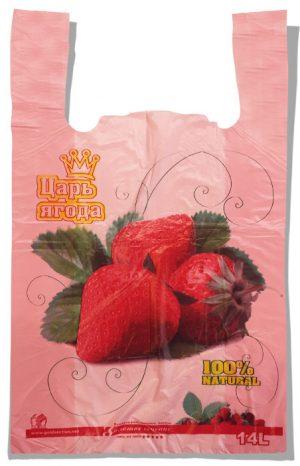 """Пакет-майка """"Клубника"""" Золотое Сечение розовый (28×45) 250 шт"""