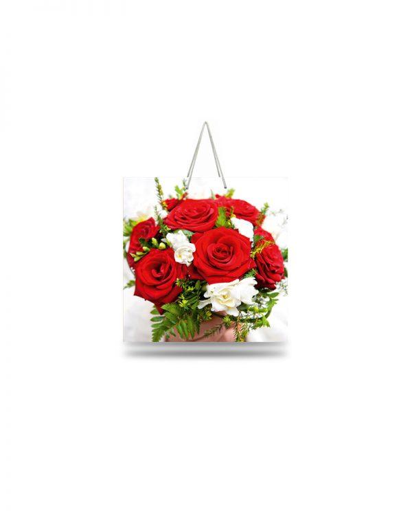 """Подарочный пакет картонный """"ЧАШКА"""" 103 (16х16х8) Цветы"""