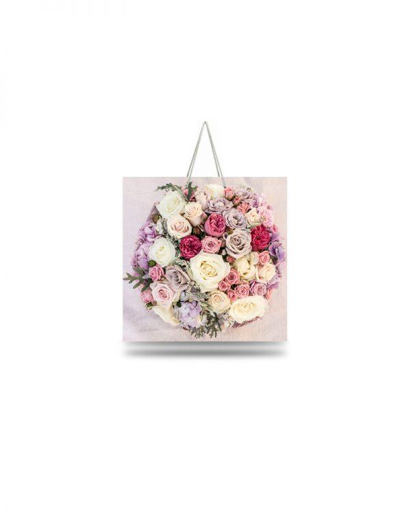 "Подарочный пакет картонный ""ЧАШКА"" 105 (16х16х8) Розовый Букет"