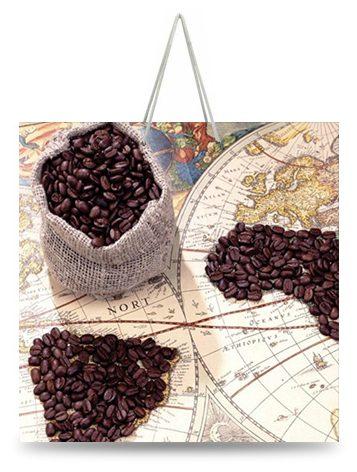 """Подарочный пакет картонный """"ЧАШКА"""" 04 """"Кофе зерна"""" (16х16х8)"""