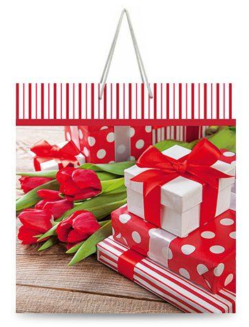 """Подарочный пакет картонный """"КВАДРАТ"""" 50 """"Тюльпаны и подарки"""" (23х24х10)"""