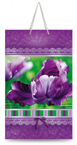 "Подарочный пакет картонный ""МАЛЫЙ"" 03 ""Фиолетовый цветок"" (11х18х5)"