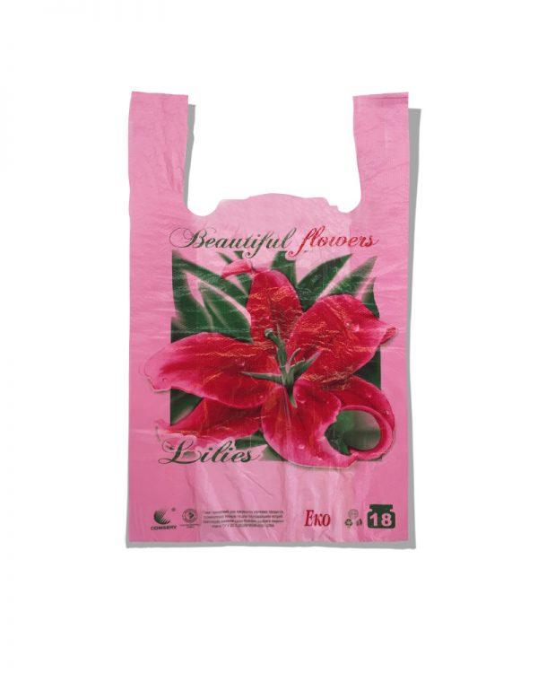 "Пакет-майка Эко ""Lilies""  Comserv розовый 18 кг (28×46) 250 шт"