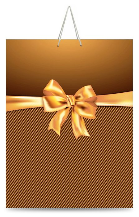 """Подарочный пакет картонный """"ГИГАНТ ШИРОКОЕ ДНО"""" 01 """"Желтый бантик"""" (30х40х17)"""