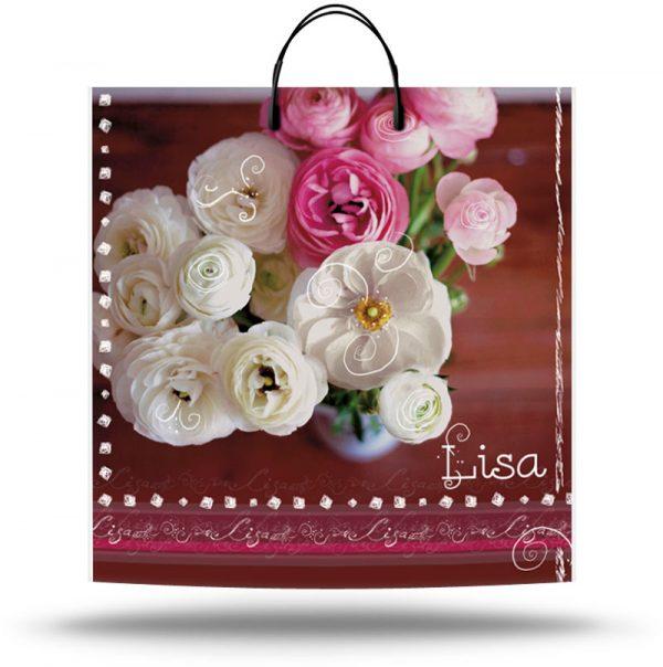 "Пакет на пластиковой ручке ""Lisa"" ""Цветы"" (40х40) 10 шт"