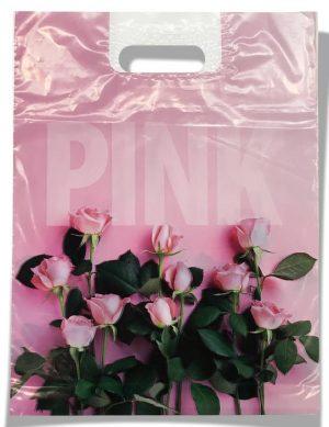"""Пакет с прорезной ручкой """"PINK"""" (34х45) 50 шт"""