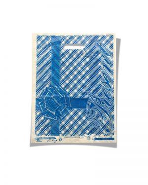 """Пакет с прорезной ручкой тип мини """"Бантик"""" синий (20х30) 100 шт"""